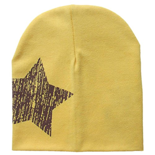 kingko® Imprimer Étoile bébé Bonnet pour Chapeaux Garçons Filles Coton Bonnet Enfants d'hiver (Jaune)
