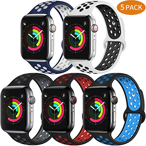 Bravely klimbing Compatible with App le Watch Band 44mm 42mm, Soft Silicone iWatch Bands Replacement Sport Bands for iWatch Series 5 4 3 2 1 for Men and Women S/M 1-5 Pack