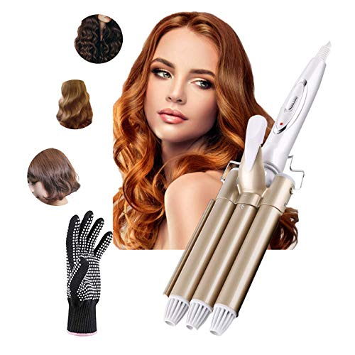 3 Barrel Curling Iron Wand - Dee Banna Pro Tourmaline Ceramic Fast Heating Hair Curler Iron Wand, Two Gear Temp Control, Best Hair Waver for Beachy/Frizz Free Waves (Gold, 1 Heat Resistant Glove)