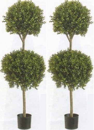 Silk Tree Warehouse Company Inc Two 56 Inch Outdoor Artificial Boxwood Double Ball Topiary Trees Potted Plants