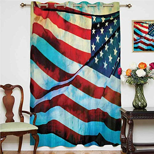American Flag Decor Window Curtain American Flag in the Wind on Flagpole Memorial Patriot History Image Grommets Panels Printed Curtains ,Single Panel 52x63 inch,for Bedroom Blue Red