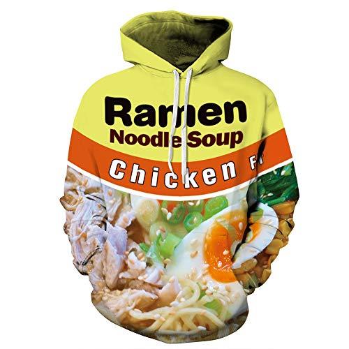 ISAAC ENGLAND Lustige Kreative Sweatshirts Gedruckt 3D für Frauen Männer Hoodies Ramen Nudel Mit Tasche Kordelzug Streetwear Tops-QYDM062, S/M