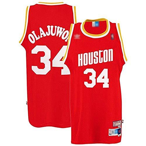 ATI-HSKJ Herren-Basketball-Trikots # 34 Hakeem Olajuwon Rot Basketball-Spiel Fans Uniform Westen Retro Breath Sleeveless T-Shirt Jersey BH053,XL:180cm~185cm