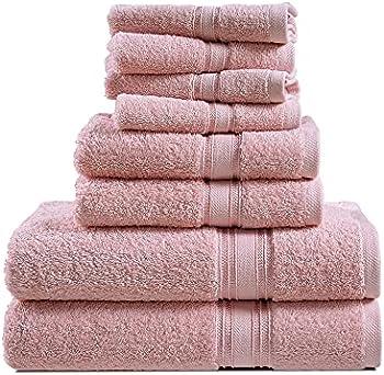 8-Piece 100% Combed Cotton Bath Towels Set (Blush or White)