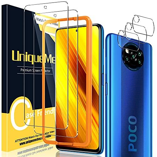 [2+3 Stück] UniqueMe Schutzfolie Kompatibel mit Xiaomi Poco X3 NFC/Xiaomi Poco X3 Pro Panzerglas & Kamera Schutzglas,[Anti- Kratzer][9H Festigkeit] HD Folie Klar Bildschirmschutz Gehärtetes Glas
