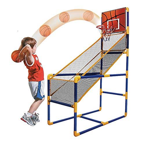 QHGao Bewegliches Basketball-Rack Für Den Innenbereich, Sport-Schießsystem Für Den Innenbereich, Mit Minikorb, Aufblasbarem Ball Und Pumpe, Bestes Tragbares Basketball-Schießspiel Für Kinder