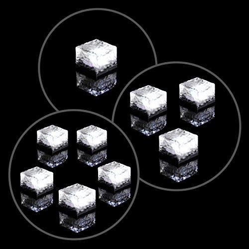 Solar Glasstein Pflasterstein Bodenleuchte Dekoleuchte mit 1 LED – 7 x 7 x 5cm – robustes Milchglas – mit Akku & Dämmerungssensor – weiß einzeln 3er 5er Set wählbar (3er Set)