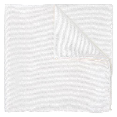 Puentes Denver Hochzeitskollektion Einstecktuch Weiß 100% Twill Seide, 30 cm X 30 cm + Geschenkbox Einstecktücher