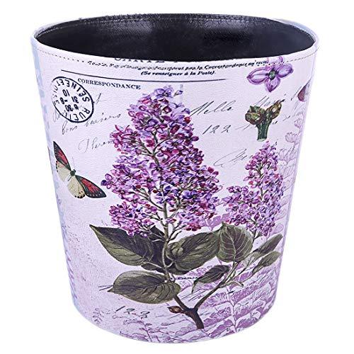 Batop Papierkorb, 10L Wasserdicht PU Leder Vintage Papierkorb Mülleimer mit Blume Muster, Dekorativ Papierkorb für Büro Wohnzimmer Schlafzimmer
