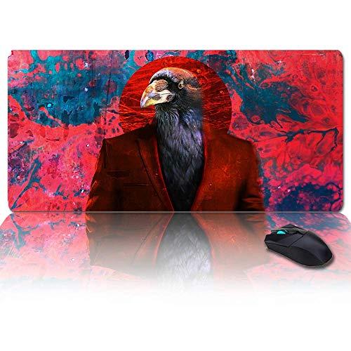 Extra großes, erweitertes Gaming-Mauspad, Adler mit rotem Anzug Psychedelic Retro Mousepad, lange rutschfeste Gummibasis, XXL große Tastatur-Schreibtischmatte für Desktop / Laptop / Büro / Zuhause