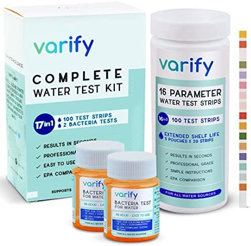 17 in 1 Premium Drinking Water Test Kit 100 Strips 2 Bacteria Tests Home Water Quality Test product image