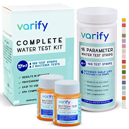 17 in 1 premium drinking water test kit - 100 strips + 2 bacteria tests - home water quality test - well and tap water - easy testing for lead, bacteria, hardness, fluoride, ph, iron, copper and more!