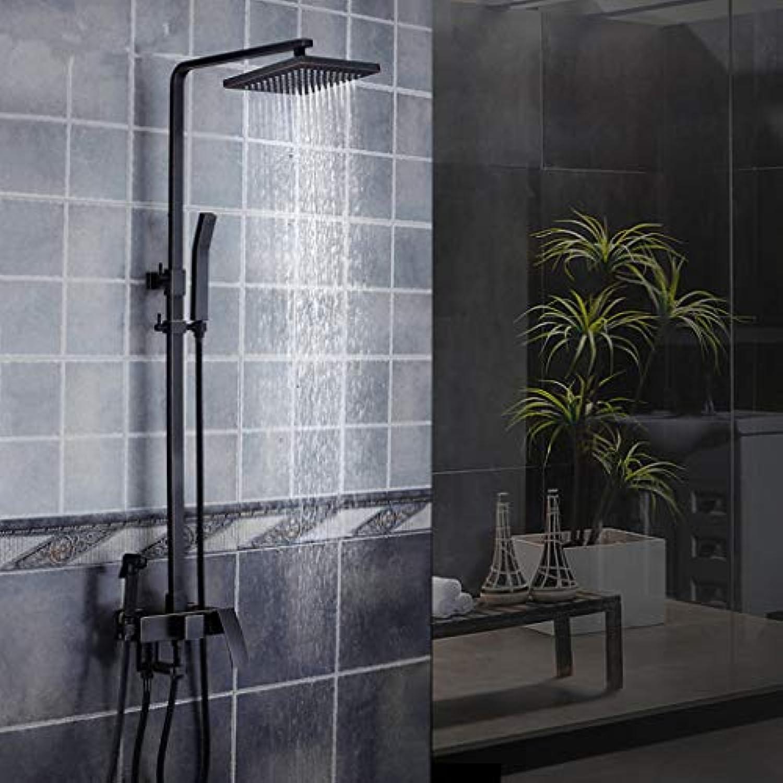 LyMei Duschset, Wall Mounted - schwarz Bronze-Verstellbare Slide Bar - Regendusche und Handheld - Drei Vier Auslauf Duschen bedeuten Flexibilitt- Bringen Sie den Spa zu Ihnen nach Hause,A