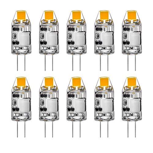 YQGOO Lampadina LED COB G4, 2W 2700K Bianco Caldo 200 LM, lampadine in Silicone Che sostituiscono Le Tradizionali lampadine alogene da 20W, Non dimmerabile, AC/DC 12V, Confezione da 10 unità
