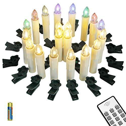 Yorbay 20er kabellose LED Kerzen Weihnachtsdeko IP64 wasserdicht RGB&Warmweiß mit Batterien, Dimmbar mit Fernbedienung und Timerfunktion, als Dekoration für Weihnachten, Weihnachtsbaum (Mehrweg)