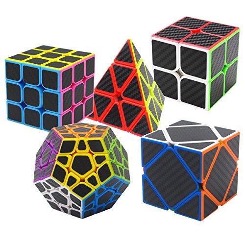Coolzon Puzzle Cubes Megaminx + Pyraminx + 2x2x2 + 3x3x3 + Skewb 5 Pack in Giftbox Cubo Magico con Pegatina de Fibra de Carbono Velocidad