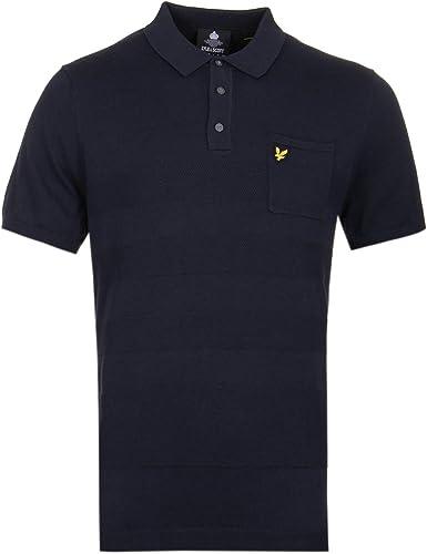 Lyle & Scott Texturouge Knit Navy Polo Shirt
