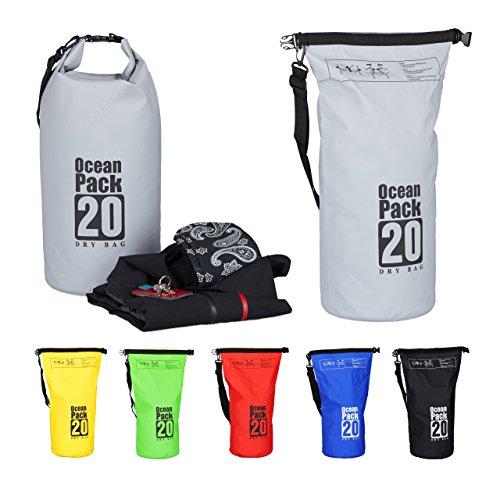 Relaxdays Ocean Pack, 20L, wasserdicht, Packsack, leichter Dry Bag, Trockentasche, Segeln, Ski, Snowboarden, dunkelgrau