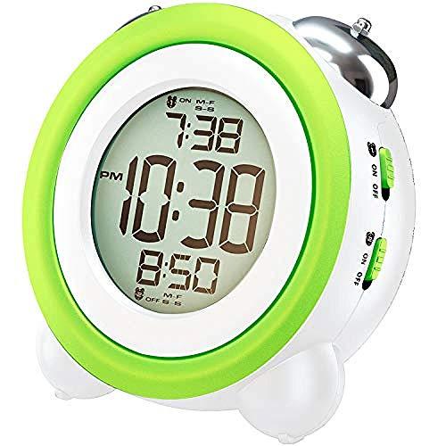 Despertadores para niños Reloj Despertador Digital con luz Nocturna, 2 alarmas, Modo Opcional de Lunes a Viernes, Snooze fuction, súper Ruidoso para niños y Personas Que Duermen Mucho