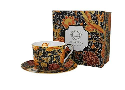 Duo Taza grande y platillo de William Morris Cray Floral de 450 ml, taza gigante de café, taza de café, taza de café, taza gigante, platillo de porcelana
