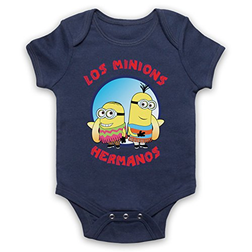 Los Minions Hermanos Funny Pollos Parody Bebe Barboteuse Body, Bleu Fonce, 0-3 Mois