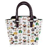 Bolso de mano con asa superior para mujer, de piel, con diseño de carnaval de viaje, parque de atracciones con entradas retro