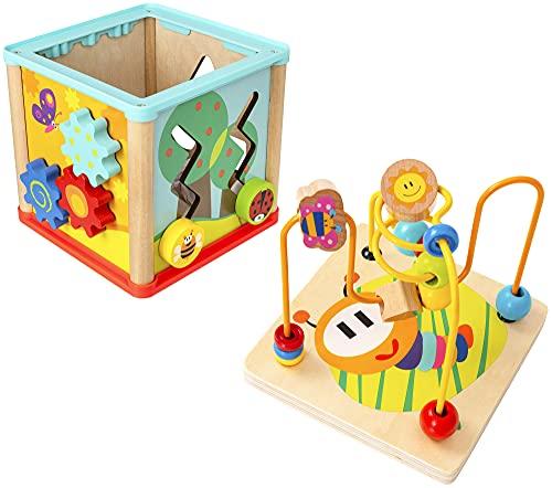 Wowow Juguetes y juegos 5 en 1 Motor & Sense Garden Cubo de actividad de madera   Desarrollo temprano y juguetes de actividad para niños pequeños niños y niñas 18 meses +