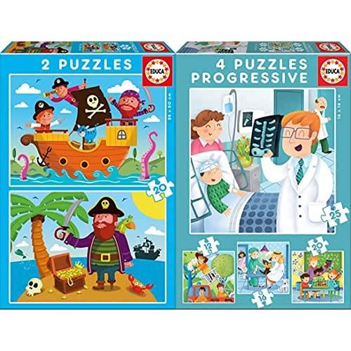 Educa Piratas 2 Puzzles De 20 Piezas, Multicolor (17149) + De Mayor Quiero Ser Conjunto De Puzzles Progresivos, Multicolor (17146)