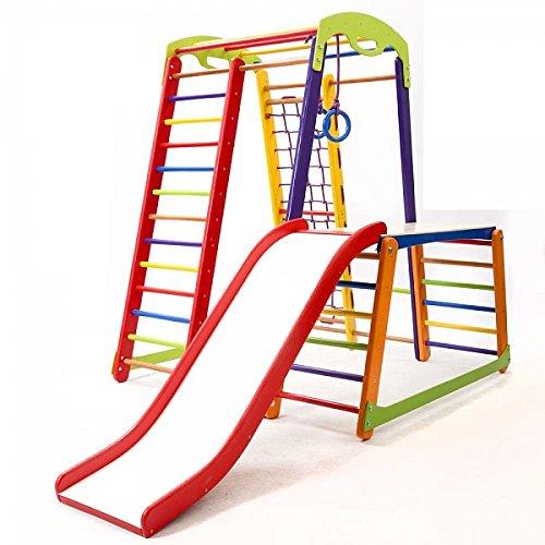 Kinder zu Hause aus Holz Spielplatz mit Rutschbahn ˝JuniorColor-Plus-1-1˝ Kletternetz Ringe Kletterwand