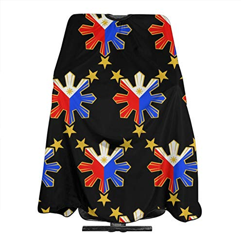 NiYoung Pinoy Filipino Flag Stars and Sun Haircut Capes Apron Barber Adjustable with Hook Closure Hair Treatment, Cutting, Coloring, Perming