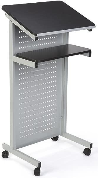 Displays2Go 移动平台与隐私面板 MDF 桌面背架钢镶板基地黑色银色 LCTMOSVMETB