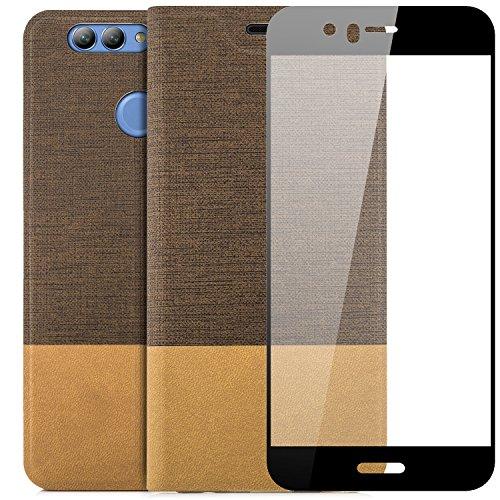 zanasta Tasche kompatibel mit Huawei Nova 2 Plus | Hülle + 3D Panzerfolie (Full Cover) Flip Case Slim Schutzhülle Handytasche mit Kartenfach, Standfunktion Hellbraun