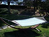 Petra Leisure, 14 Ft. Water Treated Wooden Arc Hammock Stand + Premium Quilted, Double Padded Hammock Bed. 2 Person Bed.450 LB Capacity(Coffee Stain/Teal & Yellow Stripe)