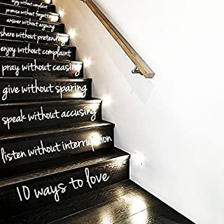 CreativeWallDecals Wall Decal Vinyl Sticker Decals Art Decor Design Sign 10 Ways Love Custom Words Quote Stairs Family Home House Modern Bedroom Dorm (r312)