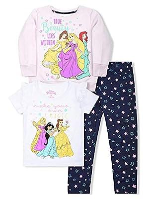 Disney Princess Toddler Girls 3 Piece Short Sleeve Crew Neck T-Shirt and Legging Set 4