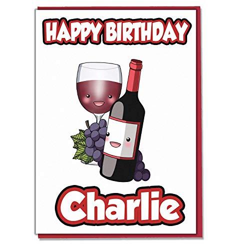 AK Giftshop - Biglietto di Auguri di Compleanno a Tema Vino Rosso, Personalizzabile