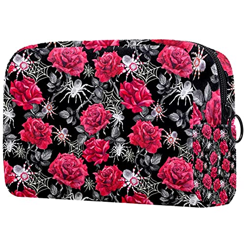 Bolsa de cosméticos Neceser Bolsas de viaje Bolsa de Negocios Impermeable Rojo Rosa Flor Patrón de Araña Red Gris 8x3x3.5 pulgadas