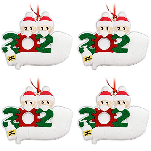 AMS 4 Pack Personalized Quarantine 2020 Christmas Ornament Kit with Toilet Paper, DIY Family Name Christmas Tree Decorating Set Creative Friends Gift (2 People)