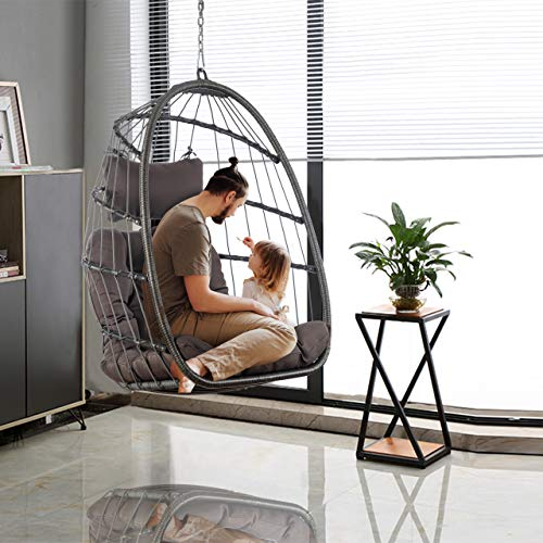 HLJ Patio Hanging Chair Outdoor Wicker Swing Hammock Swing Egg Chair with Seat UV Resistant Soft Cushions Stand with Hanging Steel Chain (Dark Gray Without StandQ)