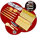 Lupso - Kit de sushi Maki completo de bambú 100 % natural y 50 recetas – 16 piezas con un cuchillo, 2 esteras de bambú, espátula y cuchara de arroz japonesa, cuenco y pinza.
