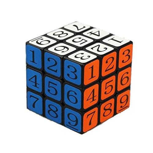 OJIN Número Cube Puzzle 3x3x3 3 Capas Smoothly Education Digital 1-9 Cube Twist con un trípode de Cubo (Negro)