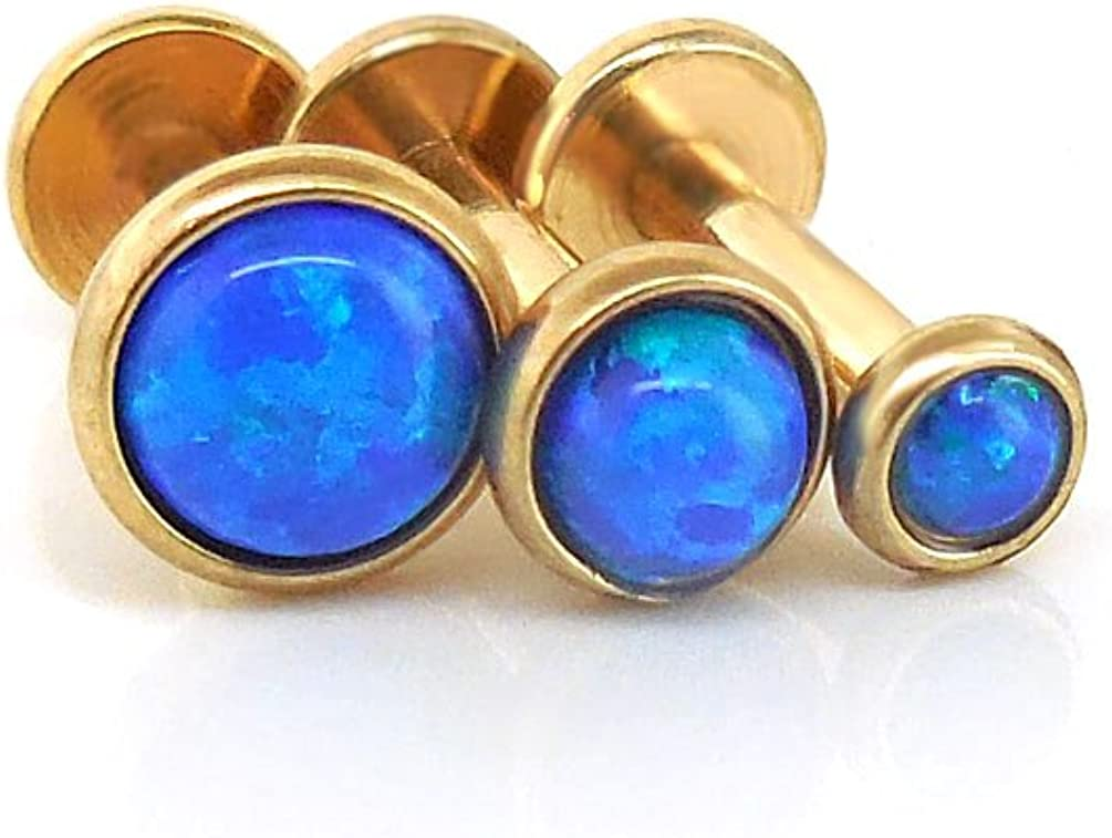 Emmajewels Triple Forward Helix Blue Ocean Synthetic Opal Tragus Barbell 316L Gold Plated Cartilage 3,4,5mm 16g