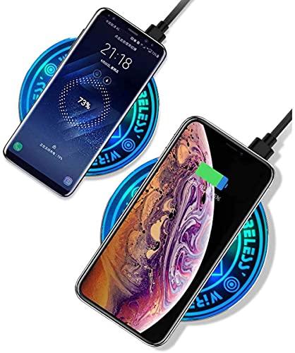 HTYY Cargador de Carga inalámbrico Ultrafino 10W Qi Cargador rápido para MAX/X/XS / / 8/8 Plus Magic Array Wireless Charger-Azul