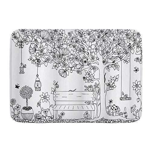 Tapetes para puertas, árbol floral de casa de campo con linternas, mariposas y columpio en el jardín, espacio de ensueño, piso de cocina, alfombra de baño, alfombra absorbente para decoración de baño