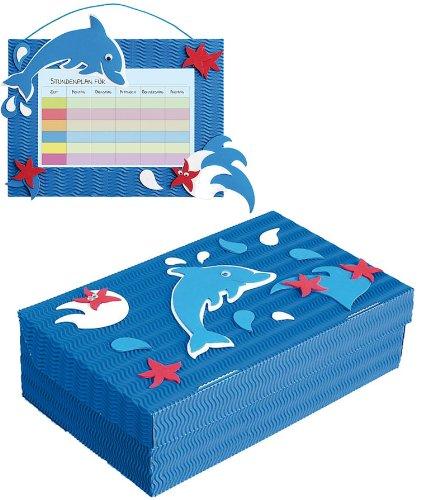 alles-meine.de GmbH 2 TLG. Set Bastelset Schulbox / Kreativbox + Stundenplan - Delfin blau Tiere - Schule Basteln Malbox für Kinder / Zeichenbox Schachtel / Spielzeugkiste / Box