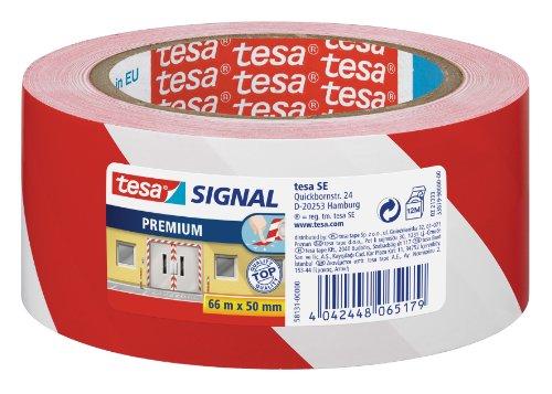 tesa 58131-00000-00 Nastro di Segnalazione, Bianco/Rosso