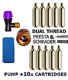 KRONYO CO2 Inflator Pump + CO2 Cartridges x 10 - Quick & Easy