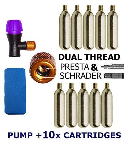 Slime CO2 Tire Inflator for Presta /& Schrader Valves Compact /& Lightweight