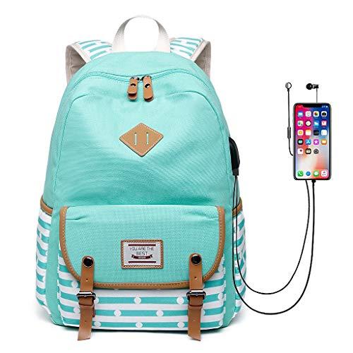 Viesky vrouwen laptop notebook rugzak met USB opladen poort tiener meisjes reizen school tas Groen