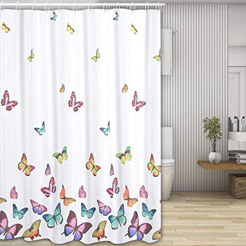 Molbory Duschvorhänge, Waschbar Badvorhänge aus Polyester, Wasserdicht Anti-Schimmel, Anti-Bakteriell mit 12 Duschvorhangringe Design, 180 x 180cm(Schmetterling)